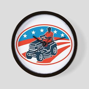 American Gardener Mowing Lawn Mower Retro Wall Clo