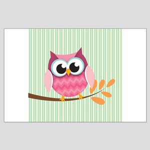 Cute Pink Chevron Owl 3 Posters