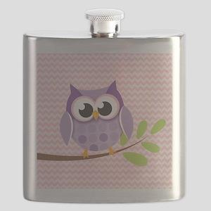 Cute Purple Owl on Pink Chevron Pattern 3 Flask