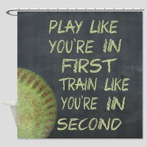 In First Fastpitch Softball Motivational Shower Cu