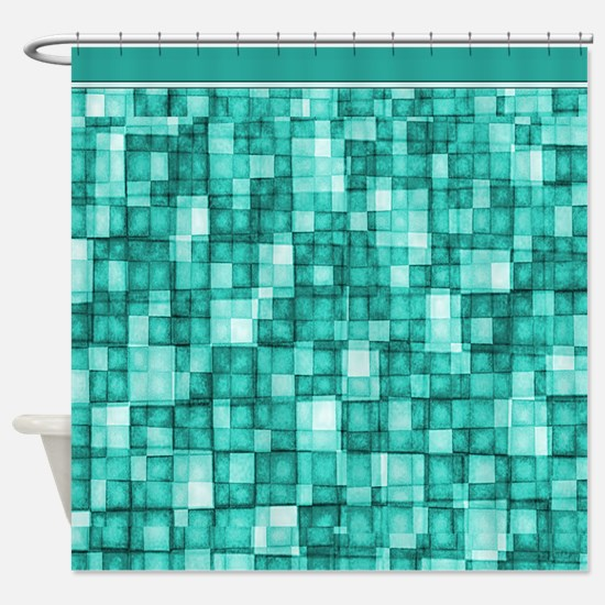 Watercolor Mosaic Tiles Shades of Turquoise Shower