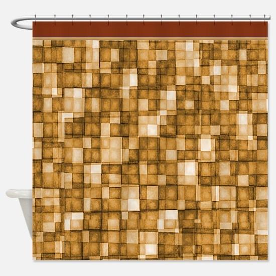 Watercolor Mosaic Tiles Shades of Tan Brown Shower