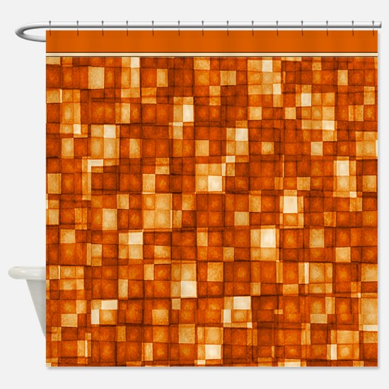 Watercolor Mosaic Tiles Shades of Orange Shower Cu