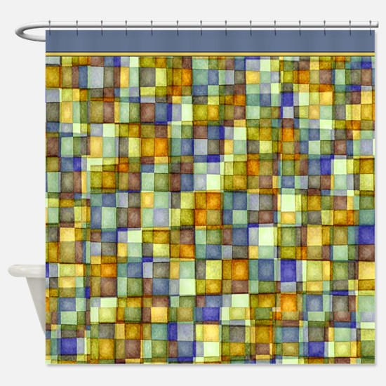 Watercolor Mosaic Tiles Shades of Gold Blue Shower