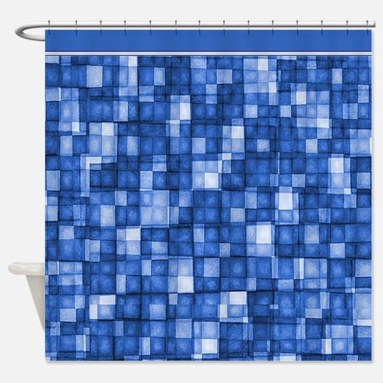 Watercolor Mosaic Tiles Shades of Cobalt Blue Show