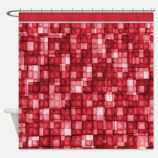 Watercolor Mosaic Tiles Shades of Cherry Red Showe