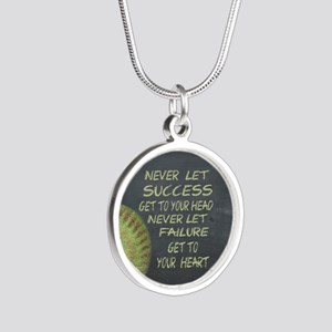 Success Fastpitch Softball M Silver Round Necklace