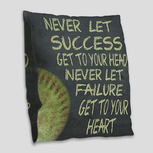 Success Fastpitch Softball Mot Burlap Throw Pillow