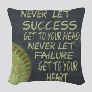 Success Fastpitch Softball Mot Woven Throw Pillow