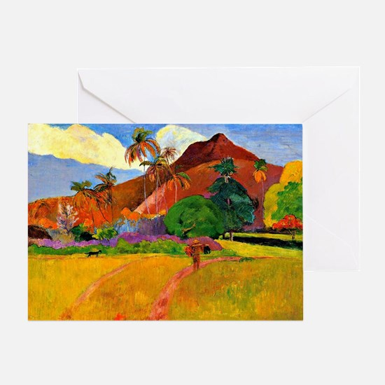Gauguin - Mountains in Tahiti Greeting Card