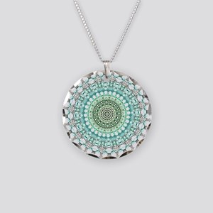 Evergreen Mandala Pattern Necklace Circle Charm