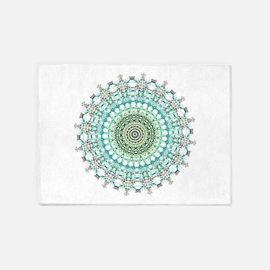 Evergreen Mandala Pattern 5'x7'Area Rug