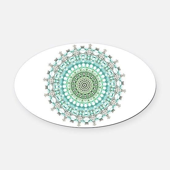 Evergreen Mandala Pattern Oval Car Magnet