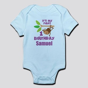 1st Birthday Personalized Monkey Body Suit