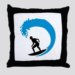 Surfer wave Throw Pillow