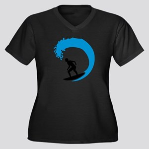 Surfer wave Women's Plus Size V-Neck Dark T-Shirt