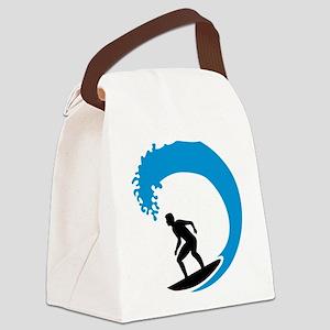 Surfer wave Canvas Lunch Bag