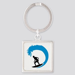 Surfer wave Square Keychain