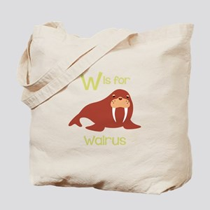 W Is For Walrus Tote Bag