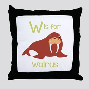 W Is For Walrus Throw Pillow