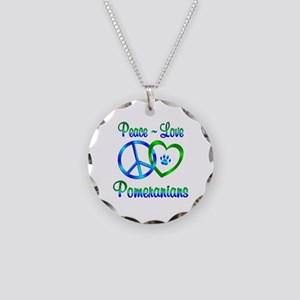 Peace Love Pomeranians Necklace Circle Charm