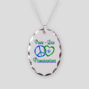 Peace Love Pomeranians Necklace Oval Charm