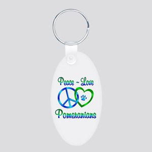 Peace Love Pomeranians Aluminum Oval Keychain