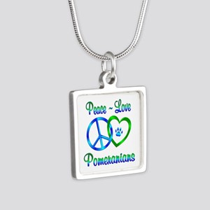 Peace Love Pomeranians Silver Square Necklace