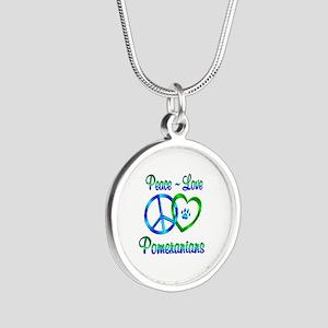 Peace Love Pomeranians Silver Round Necklace
