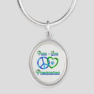 Peace Love Pomeranians Silver Oval Necklace