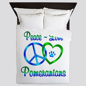 Peace Love Pomeranians Queen Duvet