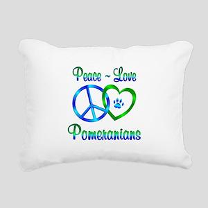 Peace Love Pomeranians Rectangular Canvas Pillow