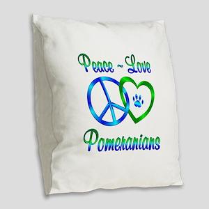 Peace Love Pomeranians Burlap Throw Pillow