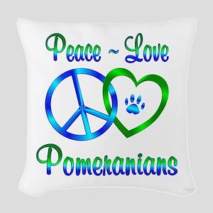 Peace Love Pomeranians Woven Throw Pillow