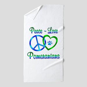 Peace Love Pomeranians Beach Towel