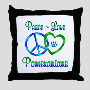 Peace Love Pomeranians Throw Pillow