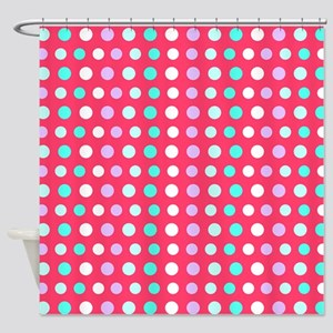 Polka Dots, Pink Shower Curtain