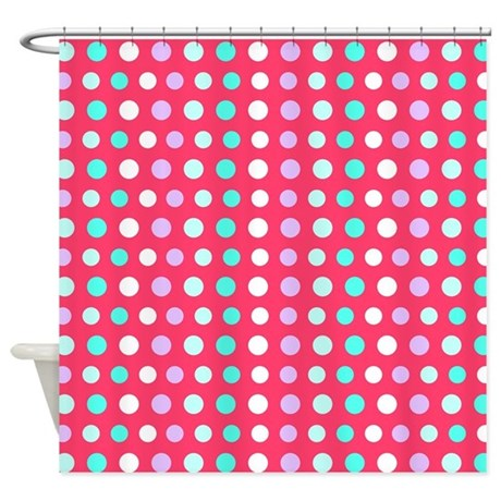 Polka Dots Pink Shower Curtain By Ornaartzi