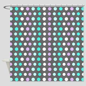 Polka Dots #2, Grey Shower Curtain