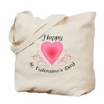 Happy Valentines Day with a Heart Tote Bag