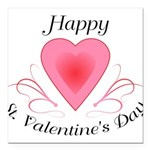 Happy Valentines Day with a Heart Square Car Magne