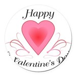 Happy Valentines Day with a Heart Round Car Magnet