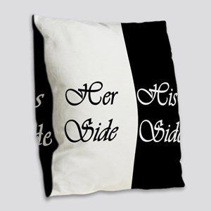 Her Side His Side Burlap Throw Pillow