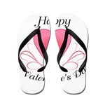 Happy Valentines Day with a Heart Flip Flops