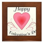 Happy Valentines Day with a Heart Framed Tile