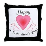 Happy Valentines Day with a Heart Throw Pillow