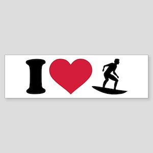 I love Surfing Sticker (Bumper)
