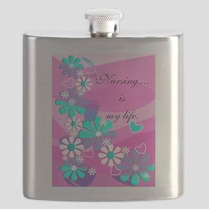 Nursing is my life pink Flask