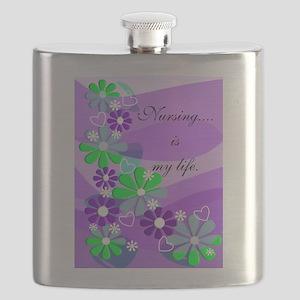 Nursing is my life purple Flask