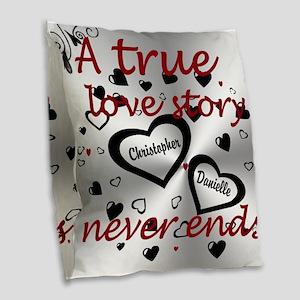 True Love Story Burlap Burlap Throw Pillow